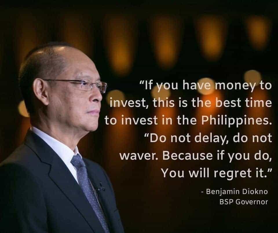Benjamin Diokno quote to invest in the Philippines