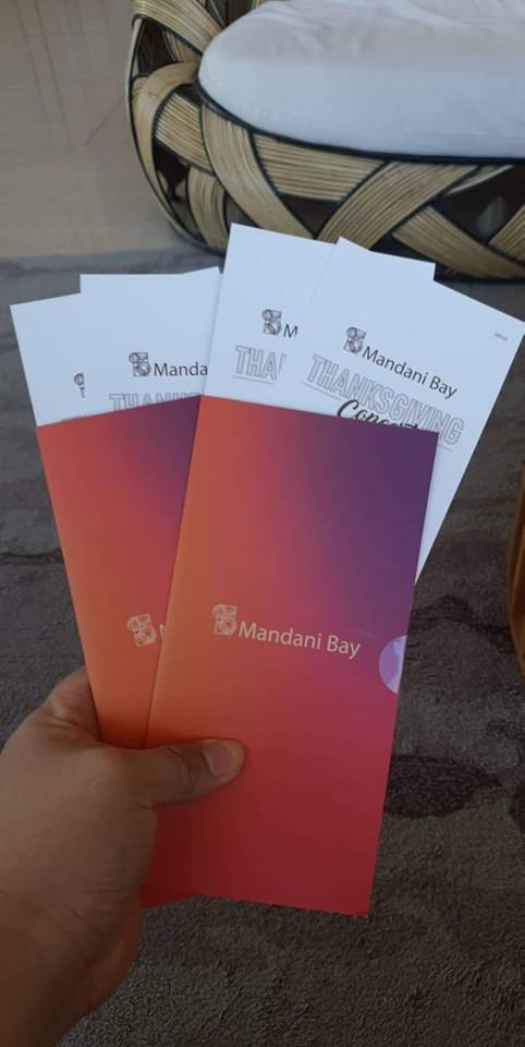 Thanksgiving ticket to homeowners from Mandani Bay