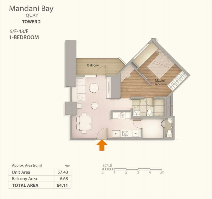 Mandani Bay 1-Bedroom Floor Plan Top View version 2