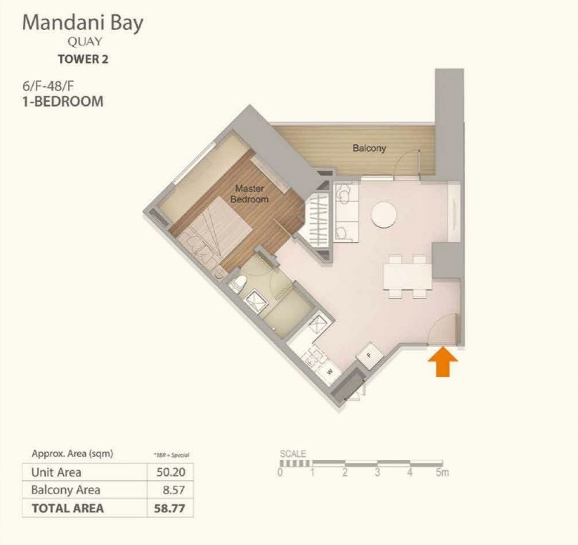 Mandani Bay 1-Bedroom Floor Plan Top View version 3