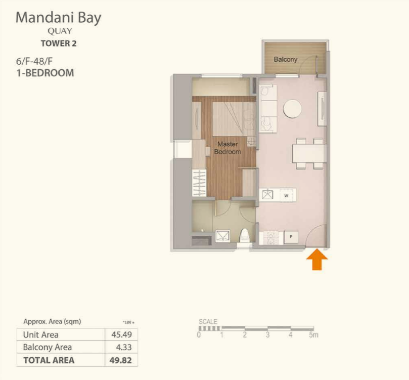 Mandani Bay 1-Bedroom Floor Plan Top View