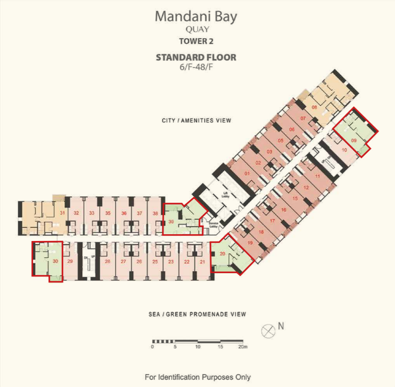 Mandani Bay 1-Bedroom floor plan sea or green promenade view