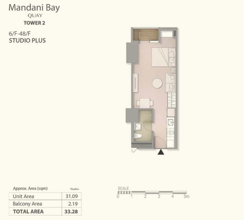Mandani Bay Studio Plus Type Floor Plan Top View