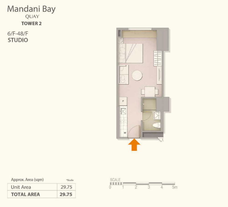 Mandani Bay Studio Type Floor Plan Top View